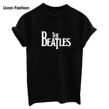 Women LE BEATLES Letters Print Women T-Shirts Tops T-shirts Loose T Shirt Black White Woman HC-TT303(China)