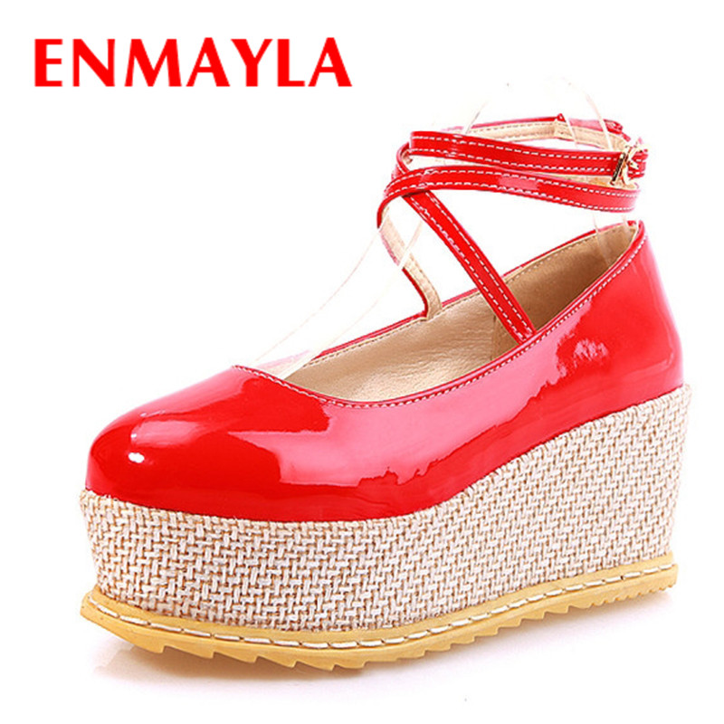ENMYALA Sweet Round Toe Ankle Strap Ladies Shoes Wedges Heels Women Platform Pumps Solid Nude Shoes for Girls Pumps<br>