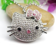 2.0 Mini Crystal Hello Kitty Cat Usb Flash Drive Jewelry Gift Fashion Pendrive 2TB 1TB Pen Drive 8GB 16GB 32GB 64GB Memory Stick
