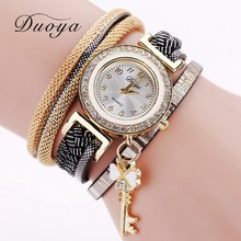 2017 Duoya Brand Fashion Quartz Watch Gold Chain Women Bracelet Luxury Watch Casual Leather Vintage Sport Clock Magnet Buckle