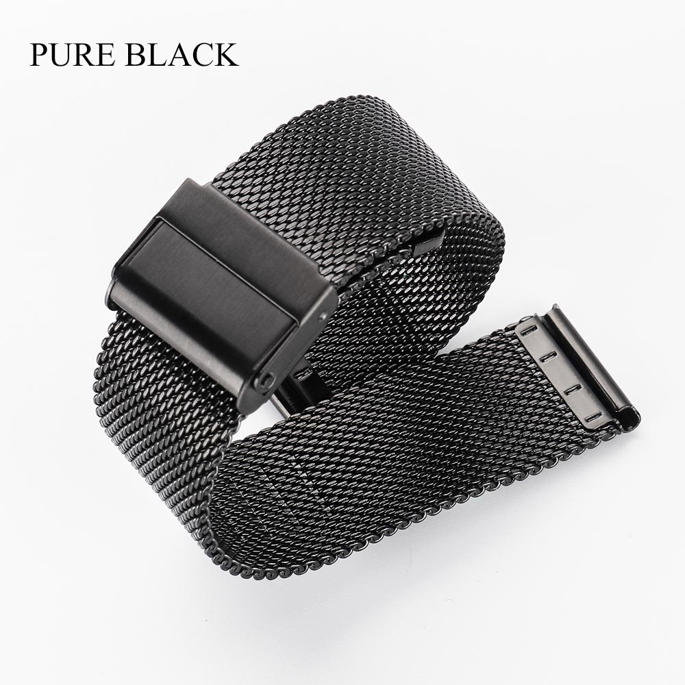 Milanese Watchband 18mm 20mm 22mm Universal Stainless Steel Metal iWatch Band Strap Bracelet Accessories Black Rose Gold Silver
