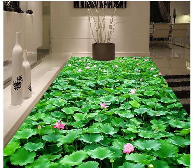 3D wall custom murals pvc floor wallpaer bathroom floor painting 3 d lotus self-adhesion floor wallpaper 3d room wallpaper<br>
