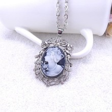 High Quality Elegant Vintage Style Women Head Cameo Pendent Necklace Unique Gift Necklace For Girls