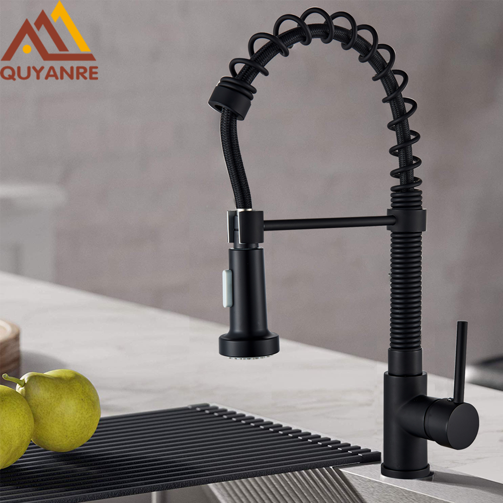 Matte Black Colors Swivel Kitchen Pull Down Spring Spray Sink Faucet Mixer Tap