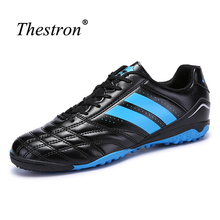 Thestron Indoor Football Shoes For Men Blue/Yellow Shoes Soccer For Men Black Blue Football Boots Men's Soccer Sneaker(China)