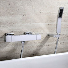 2016 New Arrival Luxurious Chrome Finish Waterfall Wall Mounted Thermostatic Bath & Shower Mixer Taps Bathtub Faucet