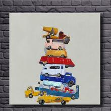 Hand Painted Canvas Oil Paintings Still Life Toy Cars Picture Abstract Wall Art for Home Decoration Modern Oil painting Unframed(China)
