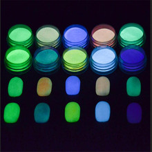 1 Box Neon Phosphor Powder Nail Glitter Powder Dust Luminous Pigment Fluorescent Powder Nail Glitters Glow in the Dark 10 Colors(China)