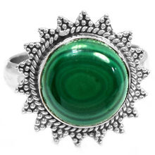 Hand make  Genuine Malachite Ring,  100% 925 Sterling Silver,  Size: 8.25,  5.6g,  AR0125