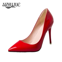 AIZHUJUE 2018 New Fashion high heels women pumps thin heel classic white red pink black beige sexy prom wedding shoes