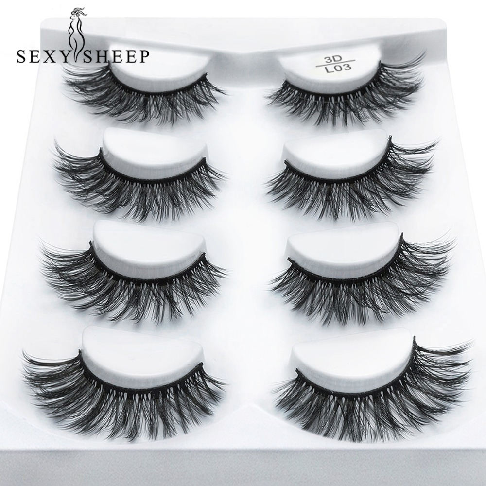 SEXYSHEEP 2/4 pairs natural false eyelashes fake lashes long makeup 3d mink lashes eyelash extension mink eyelashes for beauty(China)