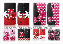 Cute Bow Hello Kitty Leather Case for Galaxy S4 mini telephone cases covers for samsung galaxy SIV i9190 Free Shipping