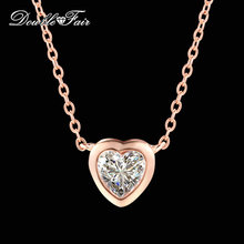 Love Heart Design Cubic Zirconia Chain Necklace & pendants Rose Gold Color Fashion Wedding Jewelry For Women Wholesale DFN447(China)