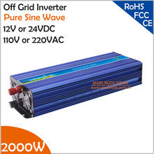 2000W Off Grid Pure Sine Wave Inverter, Surge Power 4000W 12V/24VDC to 110V/220VAC Single Phase Solar or Wind Power Inverter