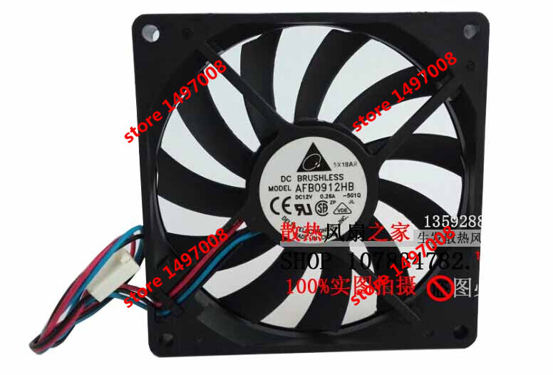 Free Shipping For DELTA  AFB0912HB, -SG10 DC 12V 0.26A,  3-wire 3-pin 80mm 90x90x15mm Server Square cooling fan<br>