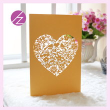 Free Shipping Embossed flowers love heart Design Rustic Gold custom acrylic Wedding Invitations cards meeting Invitation Cards(China)