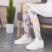 Buy 2016 fall new women's tights high quality retro design hand-painted flower printing 80D velvet pantyhose women