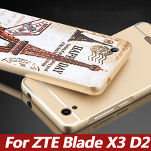 For ZTE Blade X3 Case Metal Aluminum Frame Mirror Acrylic Cover Case For ZTE Blade X3 D2 t620 Mobile Phone protective cases 5.0""