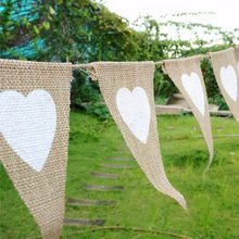 13Pcs/Set Jute Rope Flax Triangular Birthday Party Linen Heart Pennant Flag Banner Wedding Home Decor Event Supplies B799-1(China)