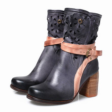Choudory Women Real Leather Gladiator Boots Thick High Heel Riding Boots Female Square Heel Knight Cowboy Boots