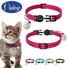 Didog Reflective Kitten Cat Quick Release Collar Custome Engraved Rhinestone Heart Pet ID Tag With Bell For Small Pets Cats Red