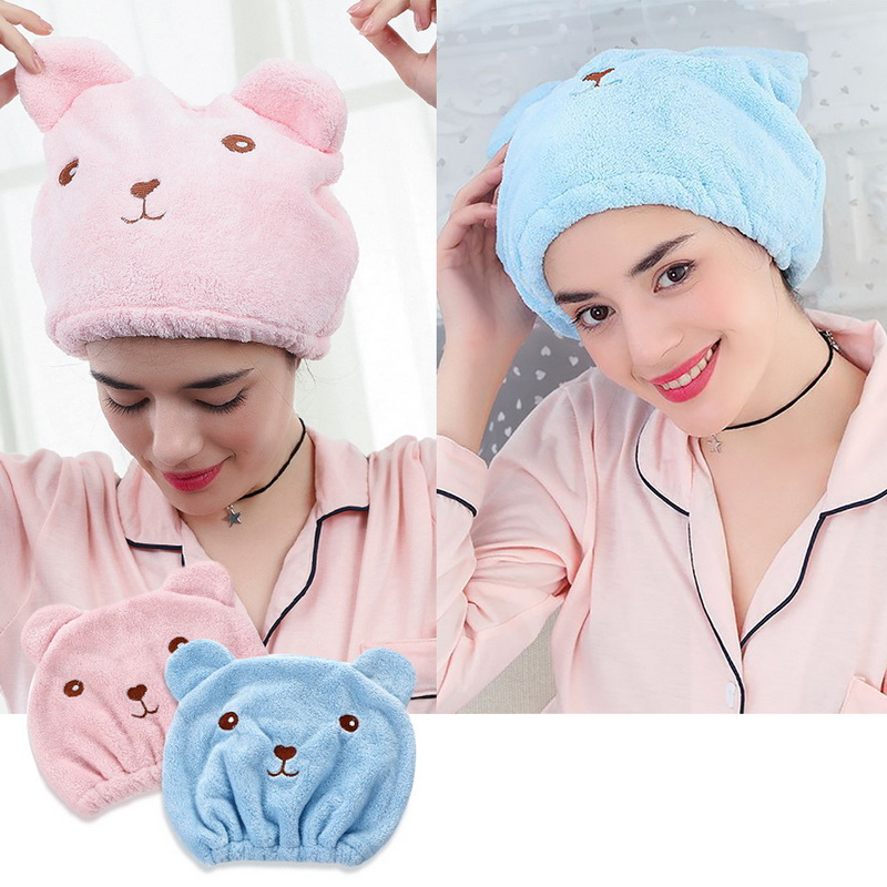 Super Absorbent,Rabbit ears Hair Drying Towel with Button Pink+Purple Dry Hair Hat Hair Towel Wrap,Turban 2 Pack,Microfibre Hair Towel Wrapped Bath Cap
