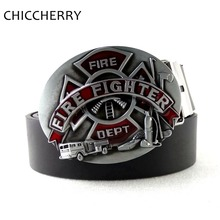 New Fashion Mens Belts Firefighter Logo Fire Dept Fighter Hatchet Big Belt Buckle Casual Men's Jeans Belt Fivela Cinto Masculino(China)