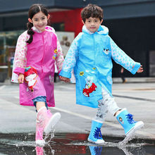 Safety Reflective Design Children's Raincoat  With School Bag Place Thick Inflatable Fashion Waterproof Raincoat