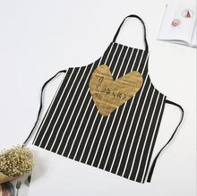 Hot Sell Korean Striped Love Heart Sleeveless Apron Home Kitchen Cleaning Anti-fouling Apron Halterneck Work Avental De Cozinha