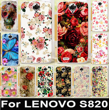 Colorful Rose Peony Flower Soft TPU & Hard PC Phone Case For Lenovo S820 Covers S 820 Housing Bags Skin Shell  Anti-Scratch Hood