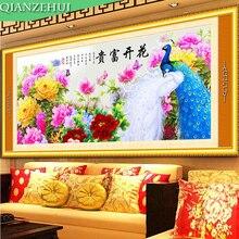 Qianzehui, Рукоделие, сделай сам пион вышивка крестом, Наборы для ухода за кожей для Вышивка комплекты павлин и пион шить, дома стены Decro(China)