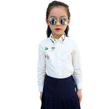 girls white blouse 2017 new spring kids clothes rainbow turn down collar kids blouse shirts emobroidery girls school top shirts