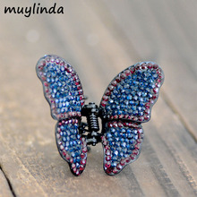 Metal Butterfly Rhinestone Hair Claws Jewelry Retro Women Banquet Hair Clip Accessories