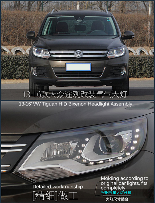 HID Bixenon High Low Beams Headlight Assembly With LED DRLs For VW Tiguan 2013-2016 Car 6