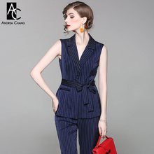 Buy spring summer runway designer womans clothing set dark blue white strip pantsuit v-neck vest belt fashion work office suit for $65.28 in AliExpress store