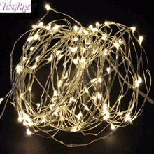 FENGRIS Merry Christmas Decoration 2m LED Light Copper Wire String Fairy Light AA Battery Romantic Wedding Events Party Supplies
