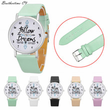 Brothertime C9 New Arrival Women Follow Dreams Words Pattern Leather Watch Dress Watch Wrist Watch #-090 Free shipping Wholesale