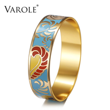 VAROLE 18mm Wide Flower Personality Design Enamel Bracelets & Bangles for Women Jewelry Bangle Bracelet Female Pulseiras(China)