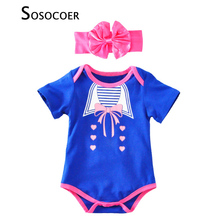 Baby Girl Romper Summer 2017 Cute Bow Stripe Jumpsuit Rompers+Headband Baby Clothes Fashion Cartoon Heart Pattern Girls Rompers(China)