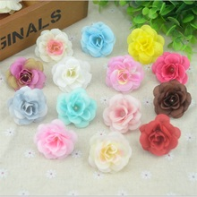 50 Pcs 4.5cm Handmade Mini Artificial Silk Rose Flowers Heads DIY Scrapbooking Flower Kiss Ball For Wedding Decorative