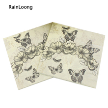 [RainLoong] Butterfly Paper Napkin Festive & Party Tissue Napkin Decoration Guardanapo 33cm*33cm 20pcs/pack/lot(China)