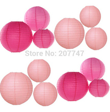 24 Mixed Size Pink Hot Pink Chinese Paper Lantern Lampshade for Wedding Engagement Birthday Party Garden Decor