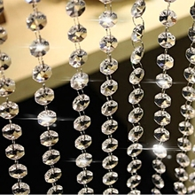 10m Clear Crystal Acrylic Octagonal bead string Garland Chandelier beads Hanging for Wedding Party Festive Christmas tree Decor(China)