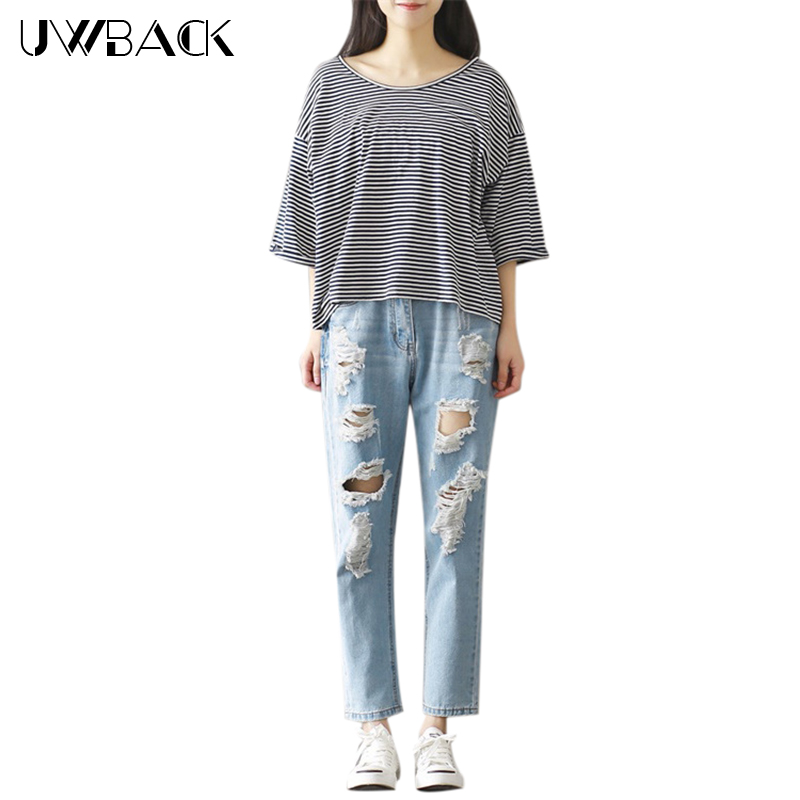 Uwback Straight Jeans Woman 2017 New Brand Summer Women Jeans Ripped Holes Washed Vintage Boyfriend Denim Pants Female TB1393Одежда и ак�е��уары<br><br><br>Aliexpress