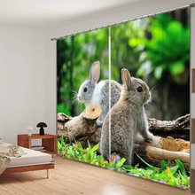 Cute Rabbit Animals Printed 3D Window Curtains For Kids Bedding room Living room Wall Home Tapestry Decorative Drapes Cortinas(China)