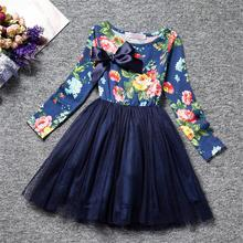 Kids Party Wear Dresses For Girls Wedding Autumn Long Sleeve Children's Clothing Christmas Costume For Girls Floal Printed Dress