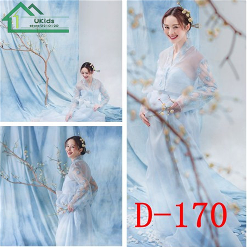 Blue Lace Maternity Photography Dresses Cutyome Long Sleeve Mesh Pregnancy Women Maxi Dress Female Photo Shoots Ropa De Embarazo<br>