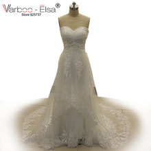 VARBOO_ELSA 2017 Arabic Wedding Gowns Sexy Backless Sweetheart White Lace Bridal Dress Strapless Pearl Beaded Vestido De Festa