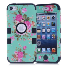 Flower Skin Fitted Cases For Apple iPod Touch 6 Case Silicone & PC Hard Back Cover iPod Touch 5 Case Armor Shockproof Cover Case
