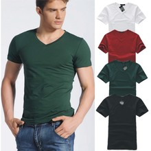 AQ262 2016 new summer men's shirt collar Korean slim fit V solid men's T-shirt male wholesale